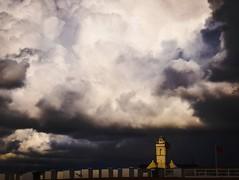 Katwijk vorig jaar (lindaouwehand) Tags: sky holland beach church clouds strand wolken lucht kerk darksky wheather dreigendelucht