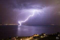 Electricit sur le lac Lman (MarKus Fotos) Tags: landscape lac lake lausanne lavaux suisse storm switzerland strike thunder thunderstorm thunderstrike tonnerre orage orages lightning lights bolt