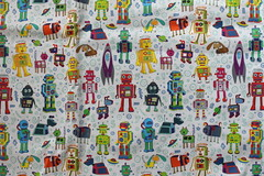 robots in space (Cecca W) Tags: patterns spoonflower basiccottonultra swatch cotton fabric pattern design patterndesign surfacedesign illustration robots