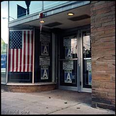 (david sine) Tags: signs color 120 tlr film america mediumformat election kodak flag nj things stuff vote portra yashica twinlensreflex scannednegative yashicaa rahway