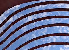 A Bug's Life (Alex L'aventurier,) Tags: blue red sky sculpture canada art lines clouds canon bug rouge quebec curves bleu ciel qubec nuages charlevoix insecte lignes courbes stirne domaineforget