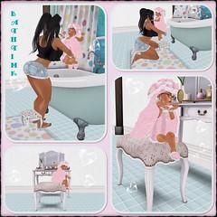 all clean! (nubiababy) Tags: family pink baby game bathroom bath toddler avatar mommy vanity avi sl avatars polkadots secondlife virtualreality pixel bathtime pixels gamers selfie virtualworld toddleedoo