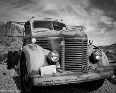 International Harvester (magnetic_red) Tags: sky abandoned truck desert nevada grill ghosttown fp4 xtol internationalharvester pentax67ii nelsonslanding tiffen25 ilobsterit