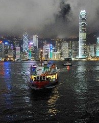 Star Ferry head-on and Central (the.bryce) Tags: ferry night hongkong starferry victoriaharbour hongkongbay