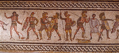 RW015207 (muraterdem01) Tags: people men sports clothing killing fineart group helmet visualarts injury mosaics armor weapon sword violence conflict males shield fighting athlete dying wound adults bound warandmilitary bedouins romans prisoner interaction gladiator attacking spear europeans arabs headgear confrontation partof tunic protectiveclothing middleeasterners bodyarmor ancientandhistoriceuropeans ancientcultures ancientperiodorstyle mediterraneanperiodorstyle floormosaics ironageperiodorstyle romanperiodorstyle imperialromanperiodorstyle severan guilloches detailofromanmosaicshowing