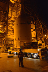 Transporter Moves Orion Into Place