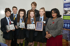 Baroness Verma with Tomorrow's Engineers Week Fab Lab competition winners, Manchester