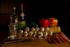 Still Life Ingredients-2877 (RG Rutkay) Tags: red stilllife orange green vegetables dill corn wine tomatoes salt knife carrot oil garlic peppers strobe