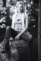 Jen (Brian M. Freer) Tags: blue woman white black hot cute beauty female forest canon log eyes woods flash 85mm jeans blond strobe offcamera 5dmarkiii