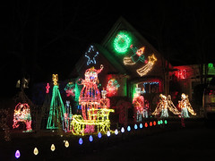 Christmas lights, Mandeville (Monceau) Tags: christmas holiday lights louisiana bright lawn neighborhood mandeville 348 365in2014 348of365in2014