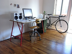 New setup (shumpei_sano_exp3) Tags: desktop horse ikea home bicycle computer se office mac legs desk top engine setup audio speakers lager vika particleboard truss trestles melamine lerberg
