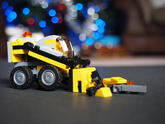 Bulldozer Bokeh (imogencallaway) Tags: christmas happy lego bokeh yay olympus christmaslights creation omd csc 2014 em10 mirrorless olympusomdem10