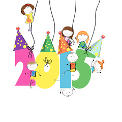 New Year 2015 (master_cityhunter) Tags: new girls party holiday abstract cute boys colors kids illustration festive season children happy sticker colorful calendar symbol time background postcard year cartoon creative style celebration event card numbers labels concept date simple greeting vector element 2015