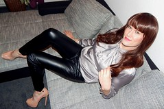 brunette chick (Rikky_Satin) Tags: cute sexy leather highheels pants silk blouse chick tgirl transgender sissy transvestite satin crossdress