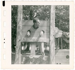 Stays Out Too Late (Alan Mays) Tags: old men portraits vintage souvenirs md hands funny humorous photos humor maryland baltimore stocks ephemera photographs 1950s heads late snapshots borders husbands foundphotos punishments pillory pillories souvenirphotos