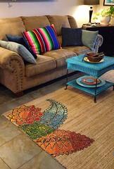 Mehndi art design painted sea grass area rug