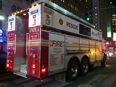 A Fire In A Store Within Inside Penn Station As I Was Told Brought A Massive NYFD Response. Here Is A NYFD Rescue Services Truck. Photo Taken Wednesday January 7, 2015 (ses7) Tags: new york city fire department of