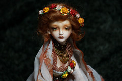 Gytha (Queen Carcharias  Libuse) Tags: flowers roses brown girl strange leaves rose yellow gold ginger necklace eyes flora doll dream auburn pearls f wig copper bjd freckles msd