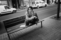 Barcelona-girl (Dmitry Chastikov) Tags: barcelona street bw girl bench spain nikon europe d7000 20140304ds71563cr011