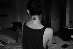 sunday 'noon through your skin (freckless_s) Tags: portrait blackandwhite bw selfportrait me girl neck back nikon italia may celtic brunette tradition tatoo myth tatuaggio triskelion triskell triskele collo italiangirl necktatoo mytholog nikond3100