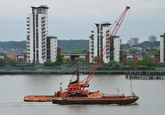Boss Tug + Venture @ Gallions Reach 25-05-16 (AJBC_1) Tags: uk england london boat ship unitedkingdom vessel tugboat tug venture riverthames eastlondon gallionsreach nikond3200 northwoolwich newham londonboroughofnewham cranebarge marineengineering dlrblog ajc bosstug thamescoastaltowage wphmarineconstruction