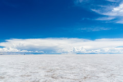 Endless Salt Flats (oncearoundtheworld) Tags: park blue wild summer sky white lake southamerica nature water beautiful rock clouds spectacular landscape natural outdoor extreme wide salt lakes scenic bolivia clear national production remote shallow rough exploration salar impressive magnificent altiplano resources endless uyuni recreational