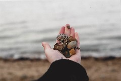 Beach Memories (Film by Emily) Tags: sea film beach outside outdoors colours hand quote stones memories pebbles calm depthoffield e canonae1 outandabout emilyjacksonfilm