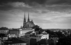 Brno Cathedral (pietkagab (on the road)) Tags: city trip travel bw church photography mono europe cityscape pentax sightseeing adventure brno czechrepublic oldtown k5 czechy cathedtal pentaxk5ii pietkagab piotrgaborek