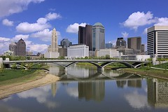 Columbus Ohio (oxfordblues84) Tags: bridge blue columbus reflection water architecture clouds skyscraper buildings reflections river skyscrapers cloudy bluesky columbusohio cloudysky huntingtonbuilding 5photosaday lavequetower abigfave scotiariver