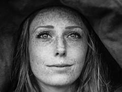 Bex (i-r-paulus) Tags: portrait blackandwhite woman girl hat model freckles naturalbeauty naturallightportrait