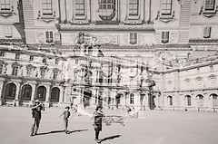 Stop Taking Photos of Le Louvre (kirstiecat) Tags: family boy people blackandwhite paris france art monochrome europe shadows child noiretblanc strangers multipleexposure irony lelouvre museedulouvre monochromemonday anindulgenceinhopelessness