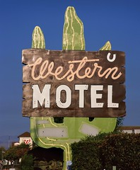 """You Can't Spell """"W"""" (RZ68) Tags: old blue cactus sky green vintage real bay big san francisco neon camino state painted south w jose motel el route velvia valley area western silicon provia 82 rz67 wallgreens e100"""