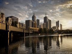 Dawn on yesterday's tomorrow - Sunrise, Southbank Melbourne (Keystone Photography) Tags: city bridge urban water clouds sunrise vintage buildings reflections river landscape downtown warmth australia melbourne victoria yarra pointandshoot keystone ripples compact canons95 repacholi
