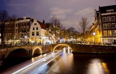 Amsterdam at night (Subhendu_Mukherjee) Tags: bridge holland netherlands amsterdam europe citylife lighttrail