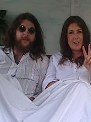 photo1649 (melissawhitaker503) Tags: man lady john beard glasses bed peace yoko lennon pyjamas ono