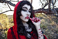 Through the Woods 7665 (JoDi War) Tags: trees sunset red wild nature grass fairytale dark lost blood woods wolf dress boots lace gothic victorian velvet hood storybook rhyme grandmothershouse nurseryrhyme throughthewoods storytale