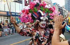 High Five! (Georgie_grrl) Tags: family flowers costumes friends toronto ontario love fashion community energy makeup pride celebration prideparade highfive yongestreet colourful interaction headdresses lgbtq ladiesofperpetualindulgence pridetoronto2016
