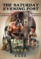 Bane Cover, Retro Style (JamesGoblin) Tags: dc comics art wallpaper poster cover magazine kid kids retro indoor hero superhero dccomics thesaturdayeveningpost locker lockers box boxing bandage bandages glove gloves man men children child mask leather 1993 artwork wallpapers posters draw drawing strong strength magazinecover covers superheroes