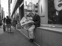The News (tinta saloia) Tags: elderly man reading newspaper streetphotography blackandwhite newyorkcity urban