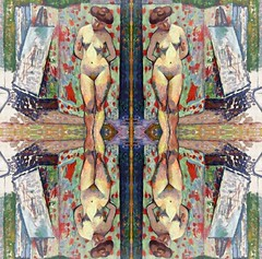 2016-08-25 symmetrical french nude paintings 2 (april-mo) Tags: symmetry symmetrical nude nu painting experimentaltechnique collage art womanportrait