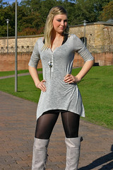 Stefanie 16 (The Booted Cat) Tags: sexy blonde girl model boots minidress pantyhose