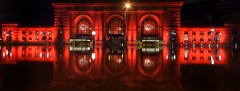 ALL DRESSED UP (Lisa Plymell) Tags: nikond5300 reflections night architecture chiefs redfriday unionstation water kansascity wideangle red sigma1020