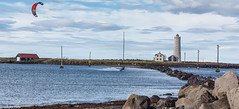 Kite surfing at Grtta (holger.torp) Tags: reykjavk grtta kite surfing sea sport lighthouse ocean coast