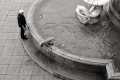 End of bathing season ;-) (PIXXELGAMES - Robert Krenker) Tags: vienna wien snapshot unknown candid portrait portret schwarzweiss blackandwhite blacknwhite bnw fujifilm fujinon filmsimulation lifestyle street streetstyle dog bathing wet cool could water urban