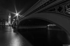Cityscape - Big Ben (toborophoto) Tags: river thames bridges londonlandmarks architecture buildings housesofparliament westminsterbridge nightphotography blackandwhite monochrome lightrails cityscapes longexposure