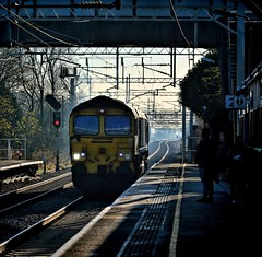 Stand Back From The Platform Edge (whosoever2) Tags: uk greatbritain railroad shadow england sun station train cheshire rail gb signal 2014 freightliner class66 winsford 66553