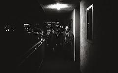 Heading Out (b'jesus) Tags: sanfrancisco city light blackandwhite building night dark apartments fuji steph fujifilm thad x100s
