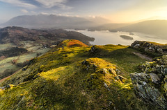 Light Over The Lakes (John Ormerod) Tags: uk morning light england sky sunlight mountain lake mountains landscape photography dawn scenery shadows lakedistrict scenic cumbria derwentwater keswick thelakes catbells skiddaw