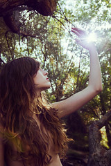 Lucía (Ges Rules ♥) Tags: life light wild portrait sky woman plants sun reflection tree nature girl beautiful beauty sunshine backlight forest contraluz hair nude countryside hand arm natural skin young backlighting