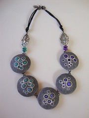 Bubbles necklace. (Beads from the Coast) Tags: necklace beads handmade polymerclay cernit premo lentilbeads christinedumont cellulariaworkshop cellulariainspired